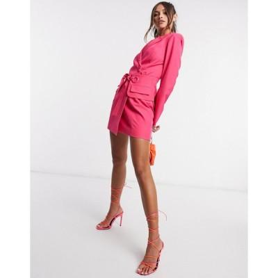 ラヴィッシュアリス ミニドレス レディース Lavish Alice tie waist blazer dress in pink エイソス ASOS ピンク