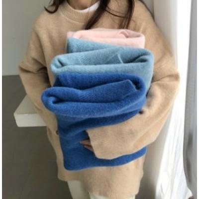 韓国 ファッション レディース トップス セーター ニット スリット 長袖 無地 ゆったり シンプル カジュアル 大人可愛い 秋冬