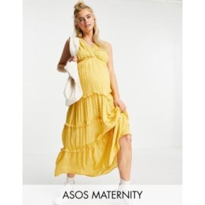 エイソス レディース ワンピース トップス ASOS DESIGN Maternity sleeveless tiered crinkle maxi dress with lace inserts in mustard