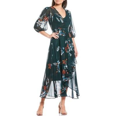 カルバンクライン レディース ワンピース トップス Faux Wrap V-Neck Elbow Sleeve Floral Print Chiffon Tulip Hem Midi Dress Malachite