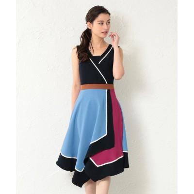 【ラブレス】 WOMEN アシンメトリーカラーブロックドレス レディース ネイビー 34 LOVELESS