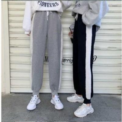 予約商品 大きいサイズ レディース サイドライン スウェットパンツ サイドボア オーバーサイズ 韓国ファッション ビッグサイズ LL 3L 4L