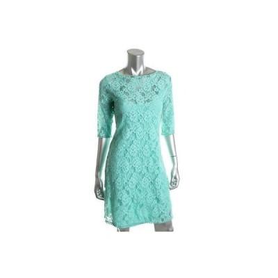 ドレス 女性  スリードッツ Three Dots 9765 レディース グリーン Lace Elbow スリーブs Knee-Length カジュアル ドレス S