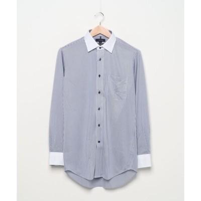 *タカキューメンズ/TAKA-Q:MEN  ノーアイロンストレッチ ストライプ柄ワイドカラー ビジネスドレス長袖ニットシャツ