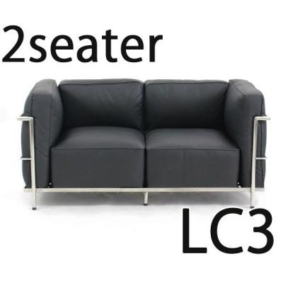 コルビジェデザイン コルビュジェデザイン コルビジエデザイン コルビュジエデザイン LC3 2P 2人掛け ラブソファ 本革 ブラック