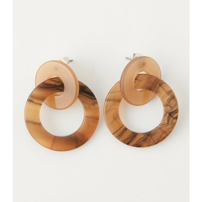 COLOR CONTRAST ROUND EARRINGS 柄BRN5
