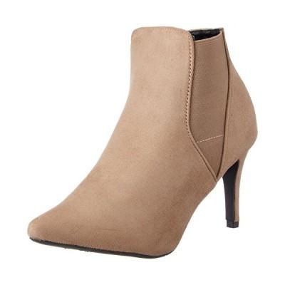 [アタガール] 8cmヒール ピンヒール サイドゴア ブーツ 97-784 ベージュスエード 22.0~22.5 cm