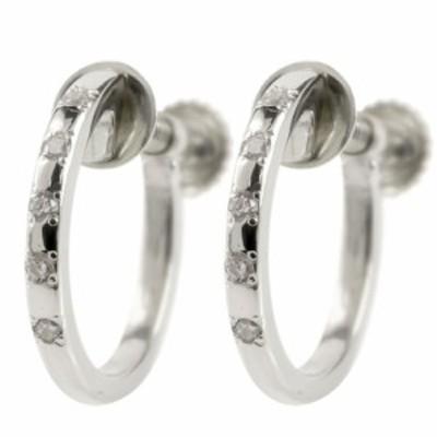 プラチナ ピアス フープ ノンホール シンプル イヤリング ダイヤモンド レディース pt900 リング G型 ねじ式 ダイヤ 送料無料