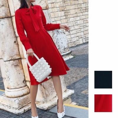 韓国 ファッション レディース ワンピース パーティードレス ひざ丈 ミディアム 秋 冬 パーティー ブライダル naloG778 結婚式 お呼ばれ