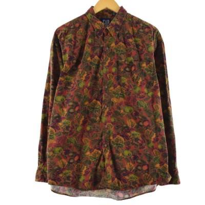 90年代 ギャップ GAP オールドギャップ 総柄 長袖 ボタンダウンシャツ メンズXL ヴィンテージ /eaa149438