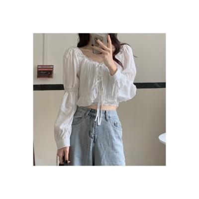 【送料無料】フレンチ タイプ スクエアネック ショートシャツ パフスリーブトップ 女 春 新しいデザイン | 346770_A64869-5182029