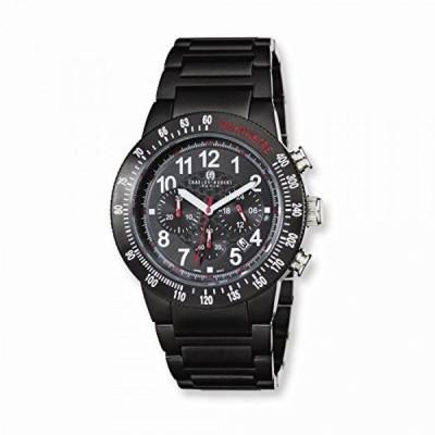 チャールズヒューバート 腕時計 メンズウォッチ Charles-Hubert, Paris Men's 3896-B Premium Collection Black Ion-Plated Stainless Steel Chronograph Watch