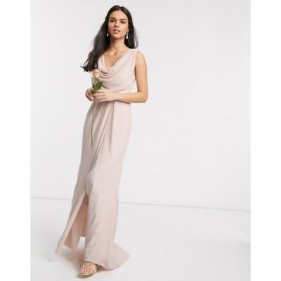 エイソス レディース ワンピース トップス ASOS DESIGN Bridesmaid cowl front maxi dress with button back detail in Blush