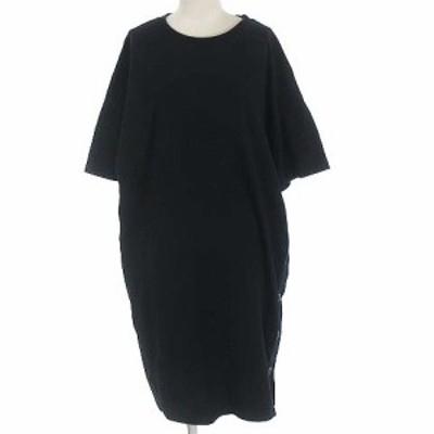 【中古】ローズバッド ROSE BUD サイドボタン Tシャツ ワンピース ひざ丈 膝丈 半袖 ブラック 黒 フリーサイズ F