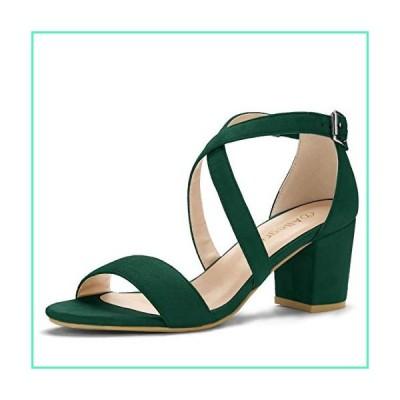Allegra K Women's Crisscross Ankle Strap Block Heel Green Sandals - 7 M US並行輸入品