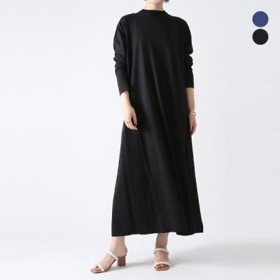 【21SSコレクション】ATON〔エイトン〕OPAGIM0201SUVIN COTTON DRESS/バックVネックロングニットワンピース