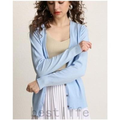 カーディガンレディースニットセーター12色ショート丈長袖vネック秋冬純色ダボッと韓国ファッションで可愛い薄手のセーターおしゃれショート丈