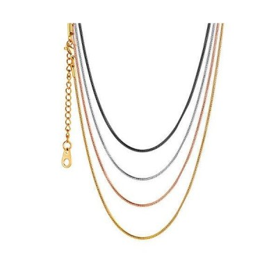 U7 Jewelry 1.2mm ステンレススチールチェーン メンズ レディース ネックレス イタリア製 ラウンドスネークチェーン/カーブ/ロロ/ボッ