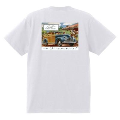 アドバタイジング オールズモビル 704 白 Tシャツ 黒地へ変更可 1940 ロケット アメ車 アドバタイズメント 看板 広告 雑誌