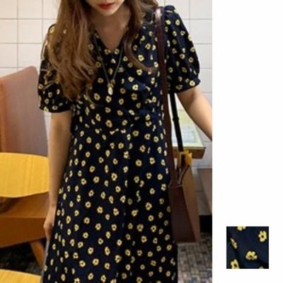 韓国 ファッション レディース ワンピース 春 夏 新作 カジュアル naloI426  フリル カシュクール風 パフスリーブ フレア シンプル コー