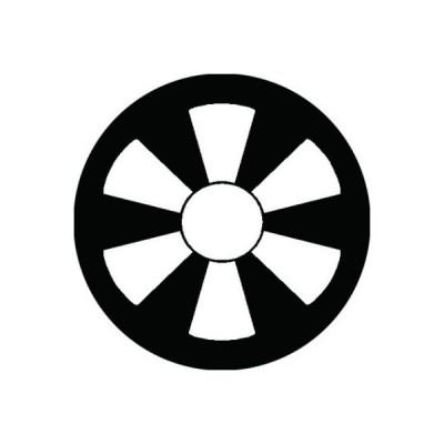 家紋シール 白紋黒地 六つ日足 布タイプ 直径40mm 6枚セット NS4-3076W
