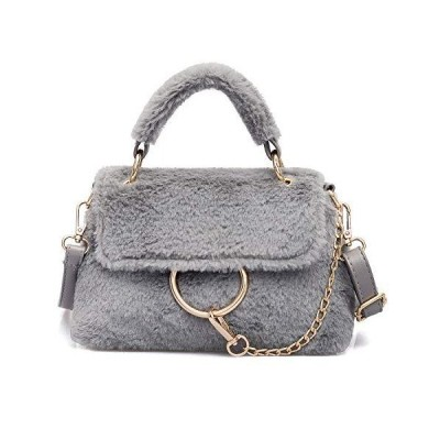 QTMY Faux Fur Shoulder Bag Tote Crossbody Bag Purse Handbag for Women,Gray並