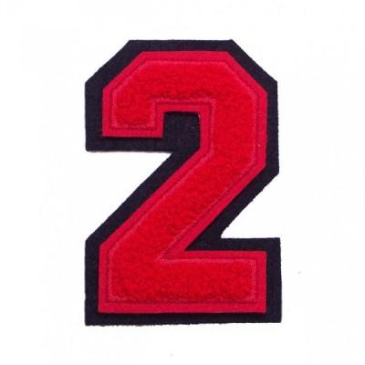 シニール3inch角型「2」赤/赤/黒