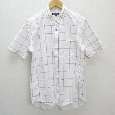 n■ビームスハート/BEAMS HEART チェック柄 ボタンダウン 半袖シャツ【XL】白/MENS/6【中古】
