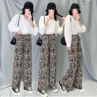 レディース ロングパンツ ワイドパンツ レオパード柄 ストレートパンツ 韓国ファッション