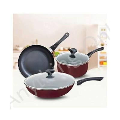 新品 Nonstick Cookware Set Induction, 3 Piece, Home Kitchenware With Saucepan, Frying Pan, Stockpot並行輸入品