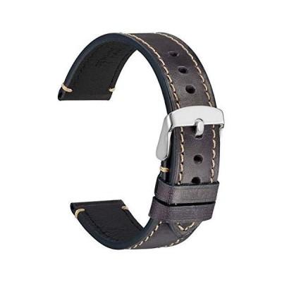 [WOCCI]時計ベルト22mm ヴィンテージレザー替えベルト レトロ本革腕時計バンド シルバーバックル(黒紫)