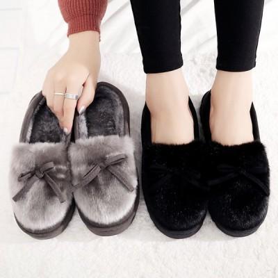 モカシン レディース スリッポン リボン 内ボア ふわもこ 秋冬 暖かい ローファー リボン 靴 シューズ FukueiCLOTHES