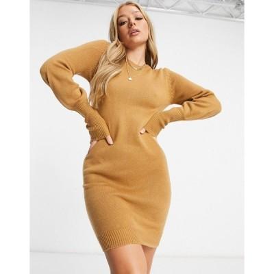 ブレーブソウル レディース ワンピース トップス Brave Soul Grunge balloon sleeve sweater dress in camel Spiced camel