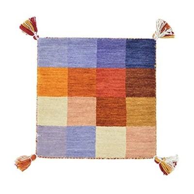 萩原 ギャッベ チェアパッド 座布団 約40×40cm 「LORRI BUFF A2」 ウール素材でふっくら贅沢な座り心地