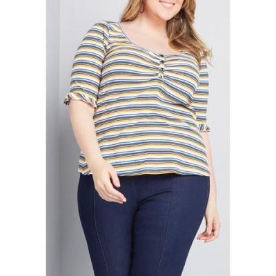 モドクロス レディース Tシャツ トップス Fitted Stripe Print Henley Top WHITE MULTI