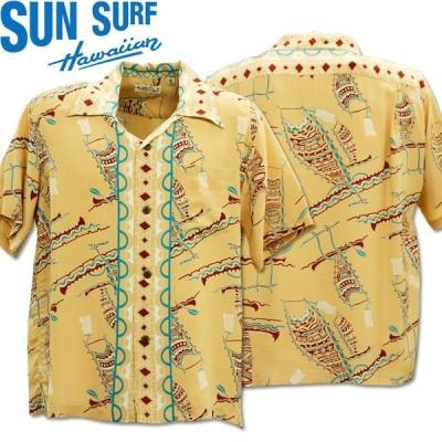 SUN SURF(サンサーフ)アロハシャツ HAWAIIAN SHIRT『POLYNESIAN CONOE』SS38323-133 Beige