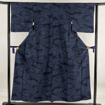 結城紬 美品 名品 証紙あり 雲文 青海波 藍色 袷 身丈153.5cm 裄丈62.5cm S 正絹 中古