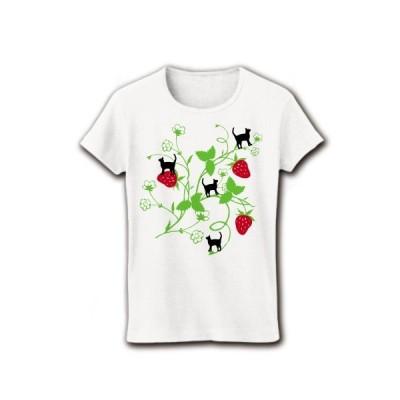 イチゴと猫 リブクルーネックTシャツ(ホワイト)