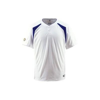 DESCENTE(デサント) ベースボールシャツ(2ボタン) DB205 Sホワイト×ロイヤルブルー(SWRY) S