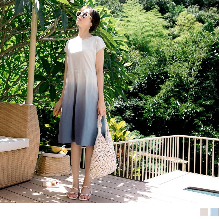 高含棉下襬百褶漸層短袖洋裝