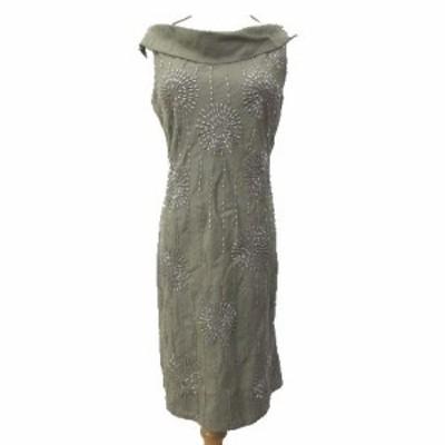 【中古】未使用品 ブランク BLANK ワンピース ひざ丈 ノースリーブ スパンコール装飾 シルク混ウール S ベージュ