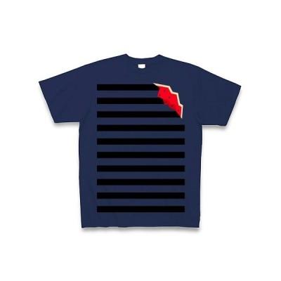 割れスイカボーダー Tシャツ Pure Color Print(ジャパンブルー)