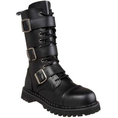 """ブーツ シューズ 靴 デモニア DEMONIA メンズ 1 1/2"""" ヒール 12 Eyelets 3 ストラップs Goth Punk ミドル丈 ブーツ RIOT-12 Blk Leather"""