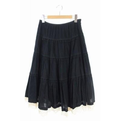 【中古】ロイスクレヨン Lois CRAYON スカート ロング フレア レース M 黒 /YS レディース 【ベクトル 古着】