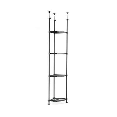 【トライポッドラック】部屋のカド専用突っ張り式4段スチールラック 天井高221~301cm対応 40cm四方のスペースに?