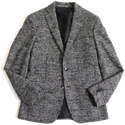 極美品▽ヒューゴボス チェック柄 モヘア×アルパカ混 ツイードジャケット/シングルジャケット ブラック×ホワイト 46 正規品 メンズ