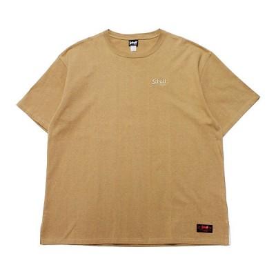 SCHOTT ショット 半袖Tシャツ BASIC LOGO OVERSIZE S/S TEE ストリート アメカジ シンプル オーバーサイズ ワンポイント ロゴ刺繍 3103109 ベージュ 茶系 M L XL