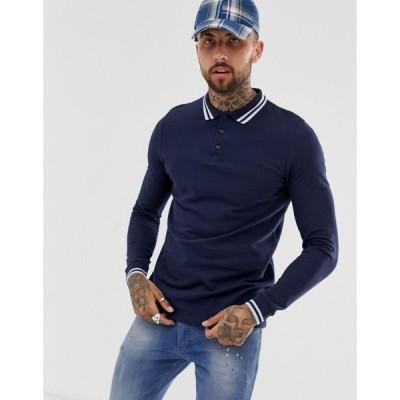エイソス ポロシャツ メンズ ASOS DESIGN long sleeve tipped pique polo shirt in navy エイソス ASOS ネイビー 藍