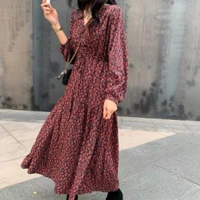 レディースファッション フレンチスタイルの新しい春Vネック長袖プリントシフォンルーズドレス女性ファッション潮  French style New Sp