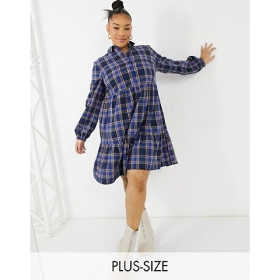 ニュールック レディース ワンピース トップス New Look Curve button front plaid smock mini dress in blue pattern